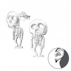 Skeleton - 925 Sterling Silver Double-sided Ear Studs A4S35642