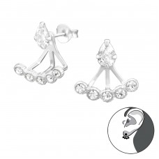 Pear - 925 Sterling Silver Double-sided Ear Studs A4S36428
