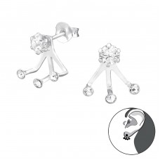Round - 925 Sterling Silver Double-sided Ear Studs A4S36429