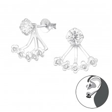 Silver Flower Ear Jacket And Double Earrings With Cubic Zirconia And Crystal - 925 Sterling Silver Double-sided Ear Studs A4S36478