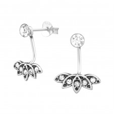 Antique - 925 Sterling Silver Double-sided Ear Studs A4S37025