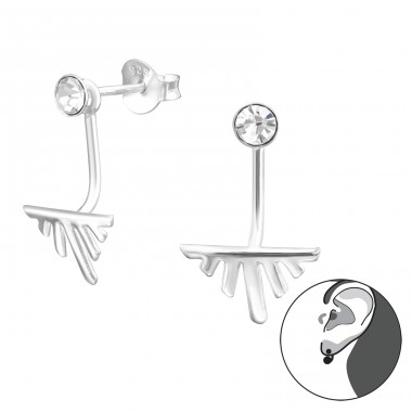 Geometric - 925 Sterling Silver Double-sided Ear Studs A4S37026