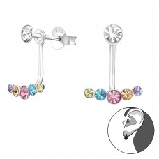 Geometric - 925 Sterling Silver Double-sided Ear Studs A4S37173
