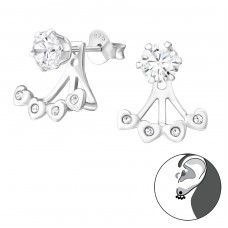 Heart - 925 Sterling Silver Double-sided Ear Studs A4S37587
