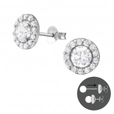 Round - 925 Sterling Silver Double-sided Ear Studs A4S37762