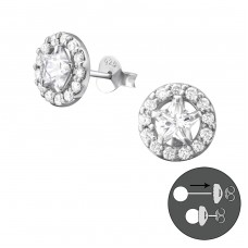 Star - 925 Sterling Silver Double-sided Ear Studs A4S37763