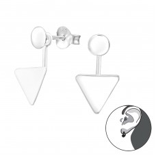 Geometric - 925 Sterling Silver Double-sided Ear Studs A4S38113