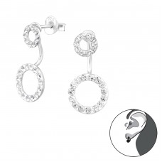 Circle - 925 Sterling Silver Double-sided Ear Studs A4S38304