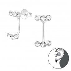 Sparkling - 925 Sterling Silver Double-sided Ear Studs A4S38499