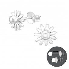 Flower - 925 Sterling Silver Double-sided Ear Studs A4S38952
