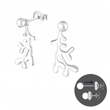 Ball Ear Studs With Hanging Coral - 925 Sterling Silver Double-sided Ear Studs A4S38986