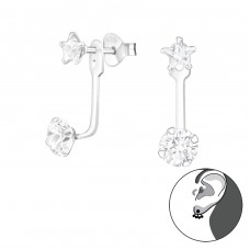 Geometric - 925 Sterling Silver Double-sided Ear Studs A4S39149