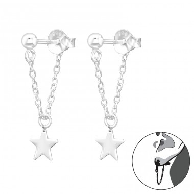 Ball 3mm With Hanging Chain And Star - 925 Sterling Silver Double-sided Ear Studs A4S41453