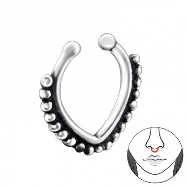 Patterned - 925 Sterling Silver Nose Silver Piercing A4S28392