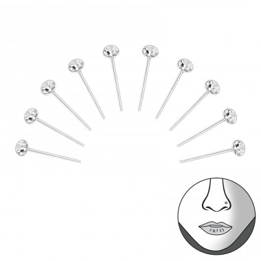 White Crystal - 925 Sterling Silver Nose Silver Piercing A4S33331