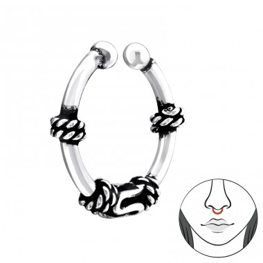 Bali Hoop - 925 Sterling Silver Nose Silver Piercing A4S34012