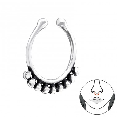 Patterned - 925 Sterling Silver Nose Silver Piercing A4S34013