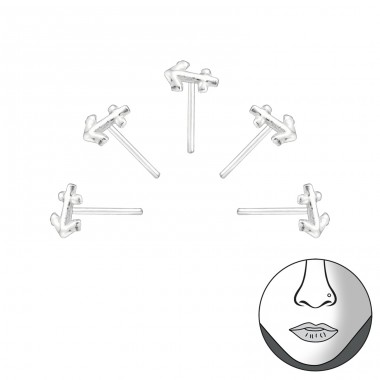 Set Of 5 Silver Anchor Nose Studs - 925 Sterling Silver Nose Silver Piercing A4S34521