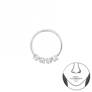10mm - 925 Sterling Silver Nose Silver Piercing A4S34609