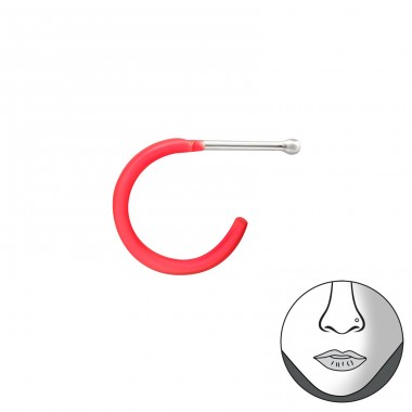Half Hoop - 925 Sterling Silver Nose Silver Piercing A4S34783