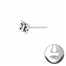 Butterfly - 925 Sterling Silver Nose Silver Piercing A4S35758