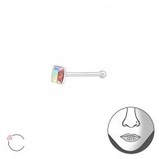 Silver Square 2.5Mm Nose Studs With Ball And Crystal From Swarovski® - 925 Sterling Silver Nose Silver Piercing A4S37464