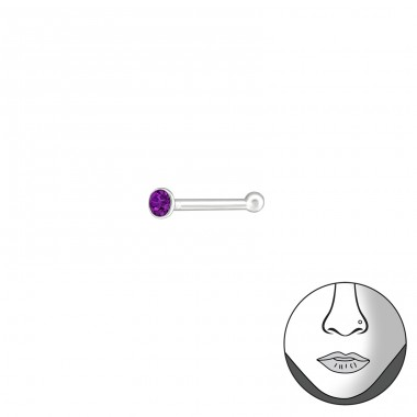 Silver Round 1.5Mm Nose Studs With Ball And Crystal - 925 Sterling Silver Nose Silver Piercing A4S37467