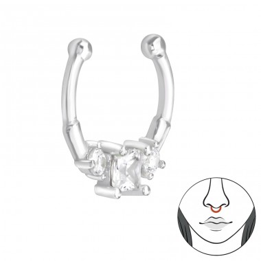 Geometric - 925 Sterling Silver Nose Silver Piercing A4S39433