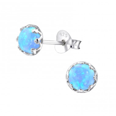 Round Opal - 925 Sterling Silver Ear Studs with semi-precious stones A4S23619