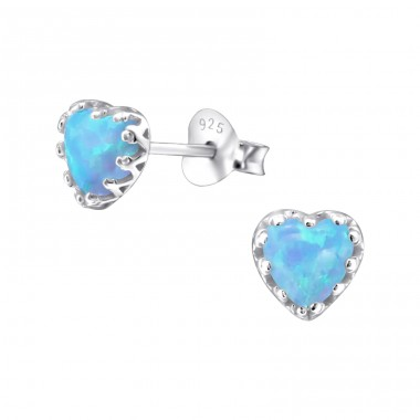 Heart Opal - 925 Sterling Silver Ear Studs with semi-precious stones A4S23620