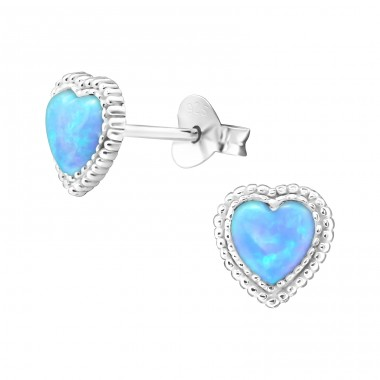 Heart Opal - 925 Sterling Silver Ear Studs with semi-precious stones A4S23627