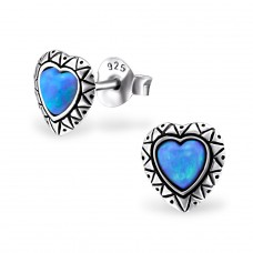 Heart Opal - 925 Sterling Silver Ear Studs with semi-precious stones A4S23667