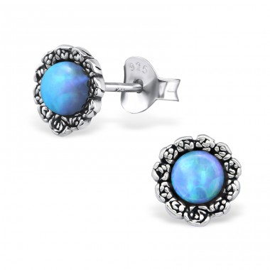 Flower Opal - 925 Sterling Silver Ear Studs with semi-precious stones A4S23670