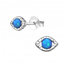 Evil Eye Opal - 925 Sterling Silver Ear Studs with semi-precious stones A4S23675