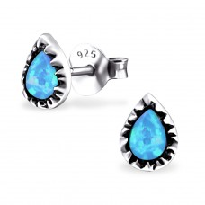 Pear Opal - 925 Sterling Silver Ear Studs with semi-precious stones A4S23676