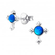 Cross Opal - 925 Sterling Silver Ear Studs with semi-precious stones A4S23678