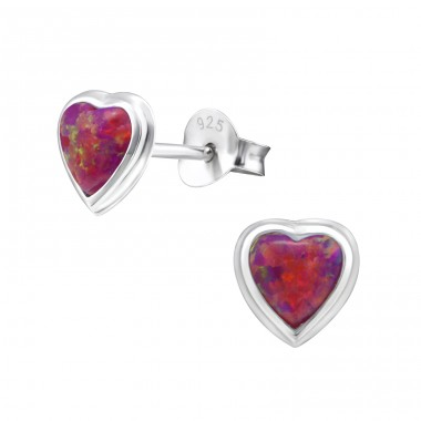 Heart Opal - 925 Sterling Silver Ear Studs with semi-precious stones A4S24091