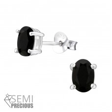 Oval - 925 Sterling Silver Ear Studs with semi-precious stones A4S24126
