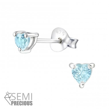 Heart - 925 Sterling Silver Ear Studs with semi-precious stones A4S24197