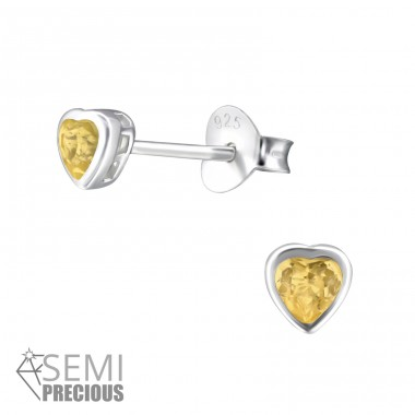 Heart - 925 Sterling Silver Ear Studs with semi-precious stones A4S24335