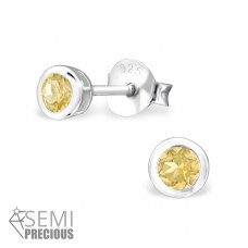 Round - 925 Sterling Silver Ear Studs with semi-precious stones A4S24499