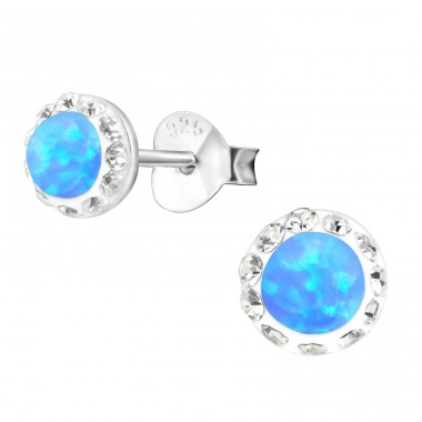 Round Opal - 925 Sterling Silver Ear Studs with semi-precious stones A4S24576