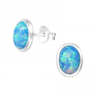 Oval - 925 Sterling Silver Ear Studs with semi-precious stones A4S26721