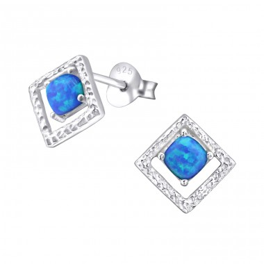 Square Opal - 925 Sterling Silver Ear Studs with semi-precious stones A4S26810
