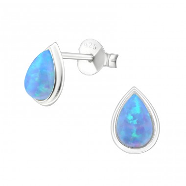 Pear Opal - 925 Sterling Silver Ear Studs with semi-precious stones A4S26811