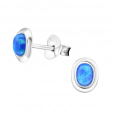 Oval Opal - 925 Sterling Silver Ear Studs with semi-precious stones A4S26901