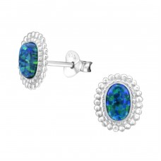 Oval Opal - 925 Sterling Silver Ear Studs with semi-precious stones A4S26913