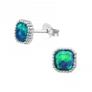 Square Opal - 925 Sterling Silver Ear Studs with semi-precious stones A4S27010