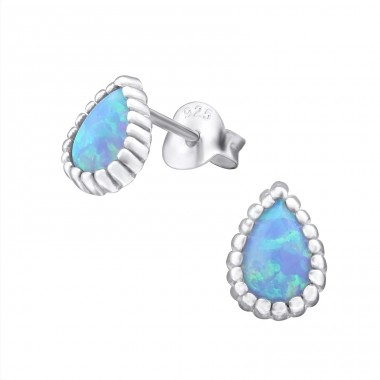 Pear Opal - 925 Sterling Silver Ear Studs with semi-precious stones A4S27024
