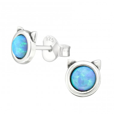 Cat Opal - 925 Sterling Silver Ear Studs with semi-precious stones A4S27108